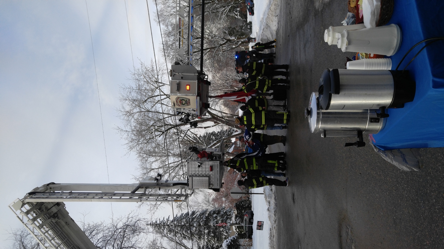 Seen here are the Glens Falls & South Glens Falls Fire Departments preparing to raise
